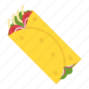 food, pita sandwich, shawarma, snack food, tortilla rolls icon