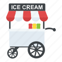 ice cream cart, ice cream hawker, ice cream seller, ice cream vendor, street ice cream icon