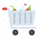 full grocery cart, grocery, grocery cart, grocery shopping, supermarket icon