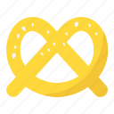 baked bread, bakery food, pretzel, snack food, twisted knot icon