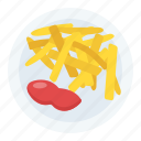french fries, fries with ketchup, frites, potato fries, snacks icon
