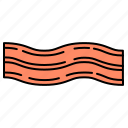 bacon, breakfast, food, meat icon