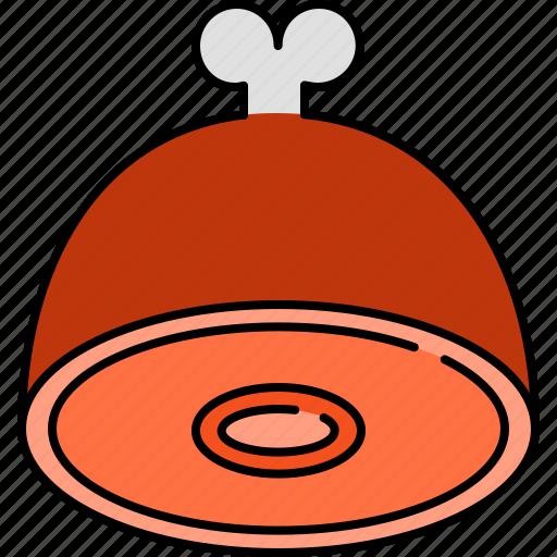 dinner, food, ham, lunch icon