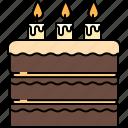 birthday, cake, chocolate, food, large, sweet