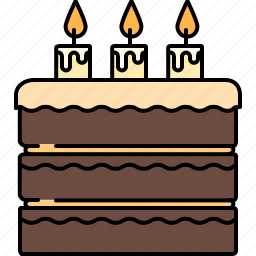 birthday, cake, chocolate, food, large, sweet icon
