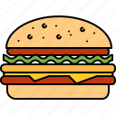 beef, fast, food, hamburger, junk, large icon
