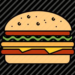 beef, fast, food, hamburger, junk, large icon