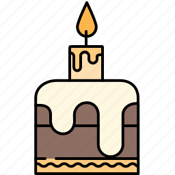 birthday, cake, candle, chocolate, food, small, sweet icon