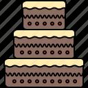 cake, chocolate, food, large, tiered, vanilla icon