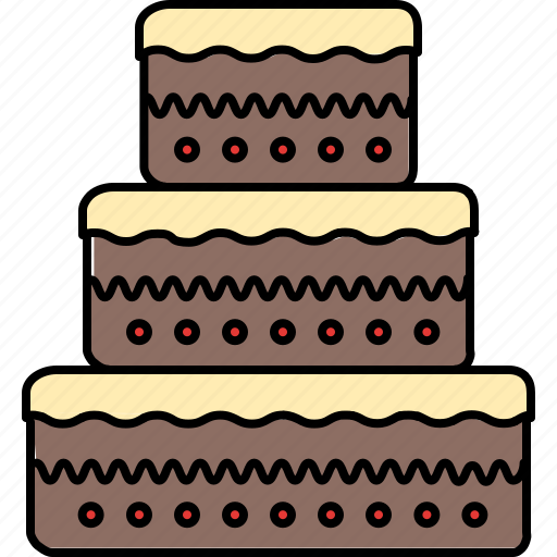 cake, chocolate, food, large, tiered, vanilla icon