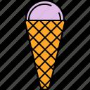 cold, cone, cream, food, ice, sweet, waffle icon