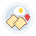 breakfast, breakfast egg with toast, breakfast time, food, morning food icon