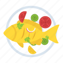 cooked fish, fish, fried fish, grilled fish, seafood icon