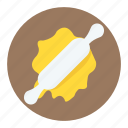 pizza dough, pizza dough with rolling pin, processing pizza dough, rolled pizza dough, wheat pizza dough icon