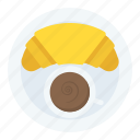 breakfast, brunch, croissant with coffee, evening tea snacks, tea time icon