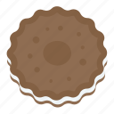 bakery food, biscuits, chocolate cookies, cookies, snacks icon