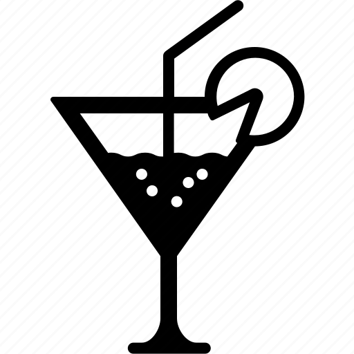 alcohol, cocktail, drink, glass, martini, straw icon