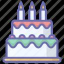bakery, birthday cake, cream cake, dessert, sweet food icon