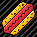 fast food, hot dog burger, hotdog, junk food, sausage, snack icon
