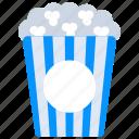 cinema snacks, fast food, junk food, popcorn, popcorn bucket icon