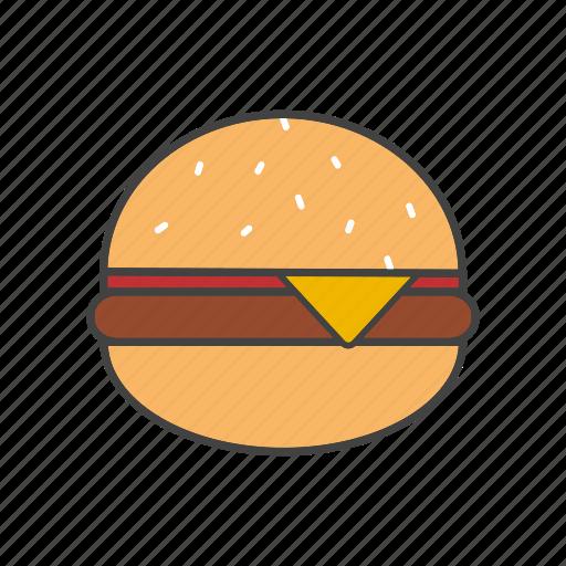 cheeseburger, fast-food, hamburger icon