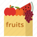 bag, food, fruits, health, shopping bag, sueprmarket, vegan icon