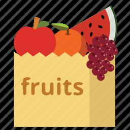 bag, food, fruits, health, shopping bag, sueprmarket, vegan icon
