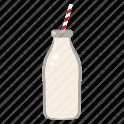 bottle, drink, food, health, milk, straw icon
