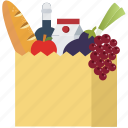 food, fruits, health, shopping, shopping bag, supermarket, vegetables icon