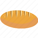 baguette, bake, bread, cereal, fiber, food icon