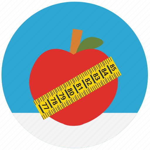 apple, diet, food, health, mass, measure, weigth icon
