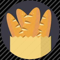 baguette, bakery, bread, breakfast, food, health, shopping bag icon