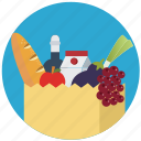 commerce, food, healthy, organic, shopping bag, vegetables icon