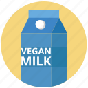 bottle, cardboard, drink, health, milk, vegan, vegan milk icon