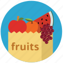 apple, food, fruits, grape, health, healthy, shopping bag icon