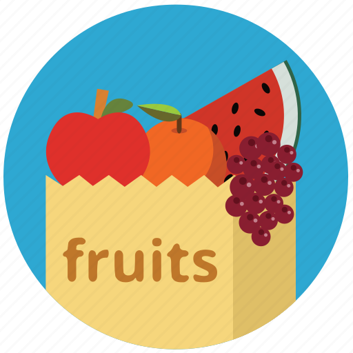 apple, food, fruits, grape, health, healthy, shopping bag icon