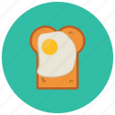 food, slice, egg, pastry, bread