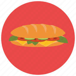 cheese, food, large, lettuce, pastry, sandwich, tomato icon
