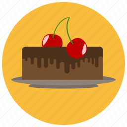 cake, cherry, chocolate, dessert, food, sweets icon