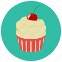 cherry, cupcake, dessert, food, frosting, sweets