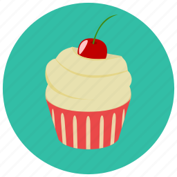 cherry, cupcake, dessert, food, frosting, sweets icon