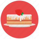 cake, dessert, food, plate, strawberry, sweets