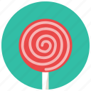 food, lollipop, round, stick, sweets icon