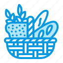 baguette, bakery, basket, bread, food icon
