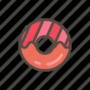 beverage, cake, color, donut, food icon