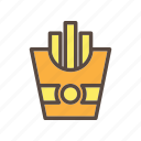 beverage, color, food, french fries, potato icon