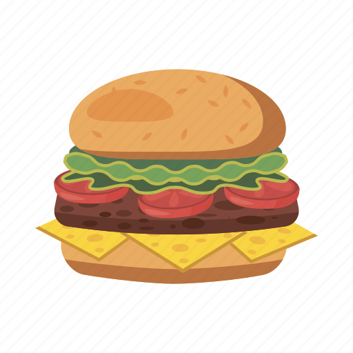 burger, cartoon, cheese, food, meal, meat, sandwich icon