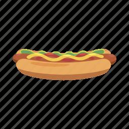 bun, cartoon, fast, food, hot, hotdog, sausage icon