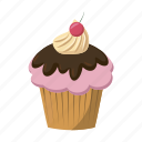 birthday, cake, cartoon, cherry, cupcake, dessert, sweet icon