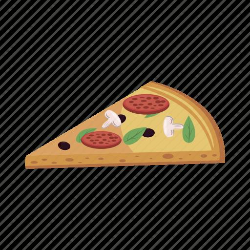 cartoon, dinner, fast, food, pizza, restaurant, slice icon